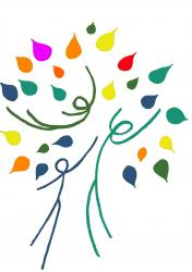 Logo foret multicolore